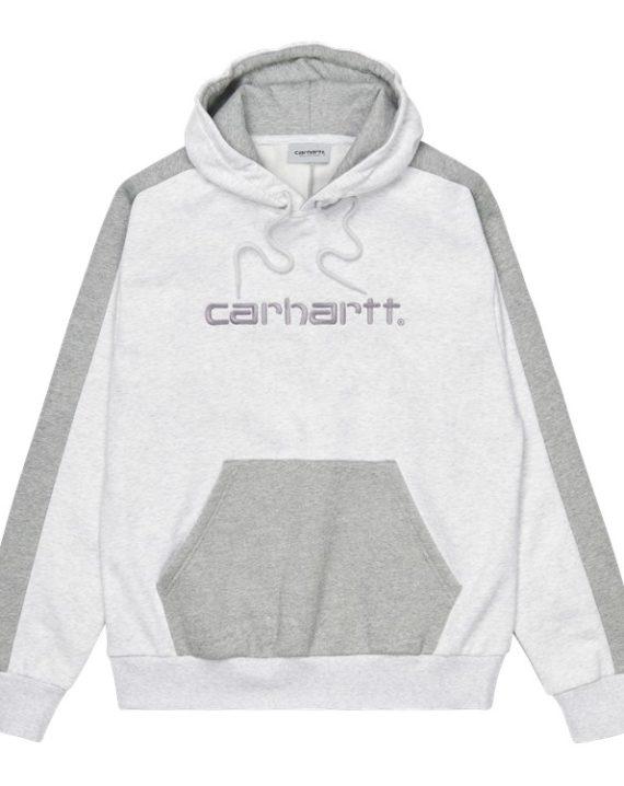 Sweat à capuche Carhartt, couleurs gris, en coton avec cordon de serrage pour la capuche