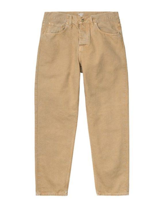 Pantalon carhartt wip, couleur beige, en coton avec patch de marque a l'arrière