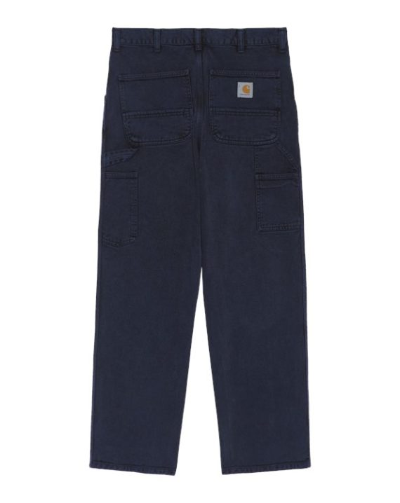 Pantalon carhartt en coton couleur bleu avec poches utilitaires