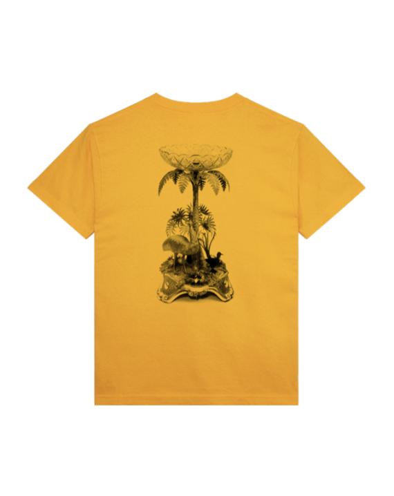 T-Shirt à manche courte en coton couleur jaune avec imprimé graphique à l'avant et à l'arrière