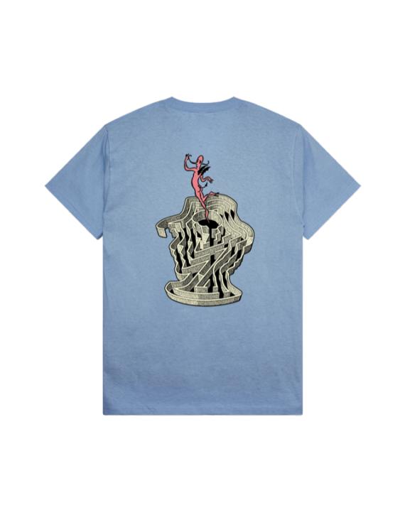 T-shirt manche courte en coton couleur bleu avec imprimé graphique sur l'avant et sur l'arrière