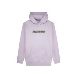 Sweat à capuche violet en coton et polyester, coupe droite avec capuche et cordon de serrage.