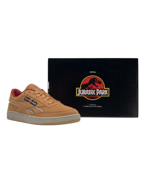 Chaussure de couleur marron en daim sur le thème de Jurassic Par