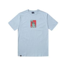 T-shirt Hélas couleur bleu en coton avec imprimé à l'avant et à l'arrière