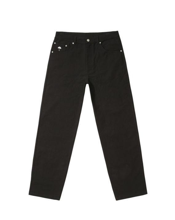 Pantalon Hélas en velours couleur noir avec empiècement en cuir coupe droite et ample