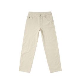 Pantalon en velours de coton couleur blanc avec broderie sur la poche avant et patch en cuir à l'arrière