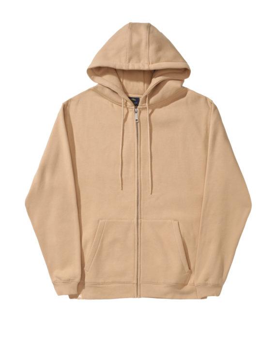 Pull à capuche zippé, couleur beige en coton, empiècement arrière en relief