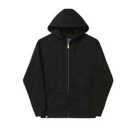 Gilet à zip avec capuche, en coton couleur noir, empiècement en, relief dans le dos