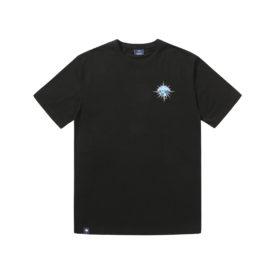 T-shirt Hélas couleur noir en coton avec imprimé graphique à l'avant et à l'arrière