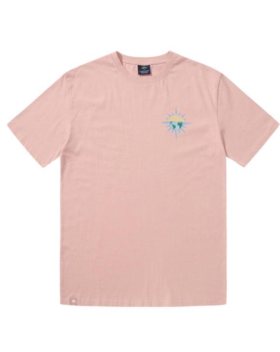 T-shirt Hélas couleur rose en coton avec imprimé graphique à l'avant et à l'arrière.