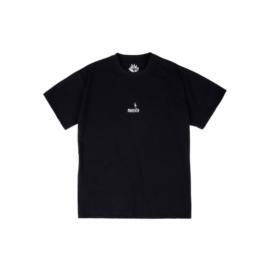 T-shirt noir en coton coupe ample empiècement brodé à l'avant